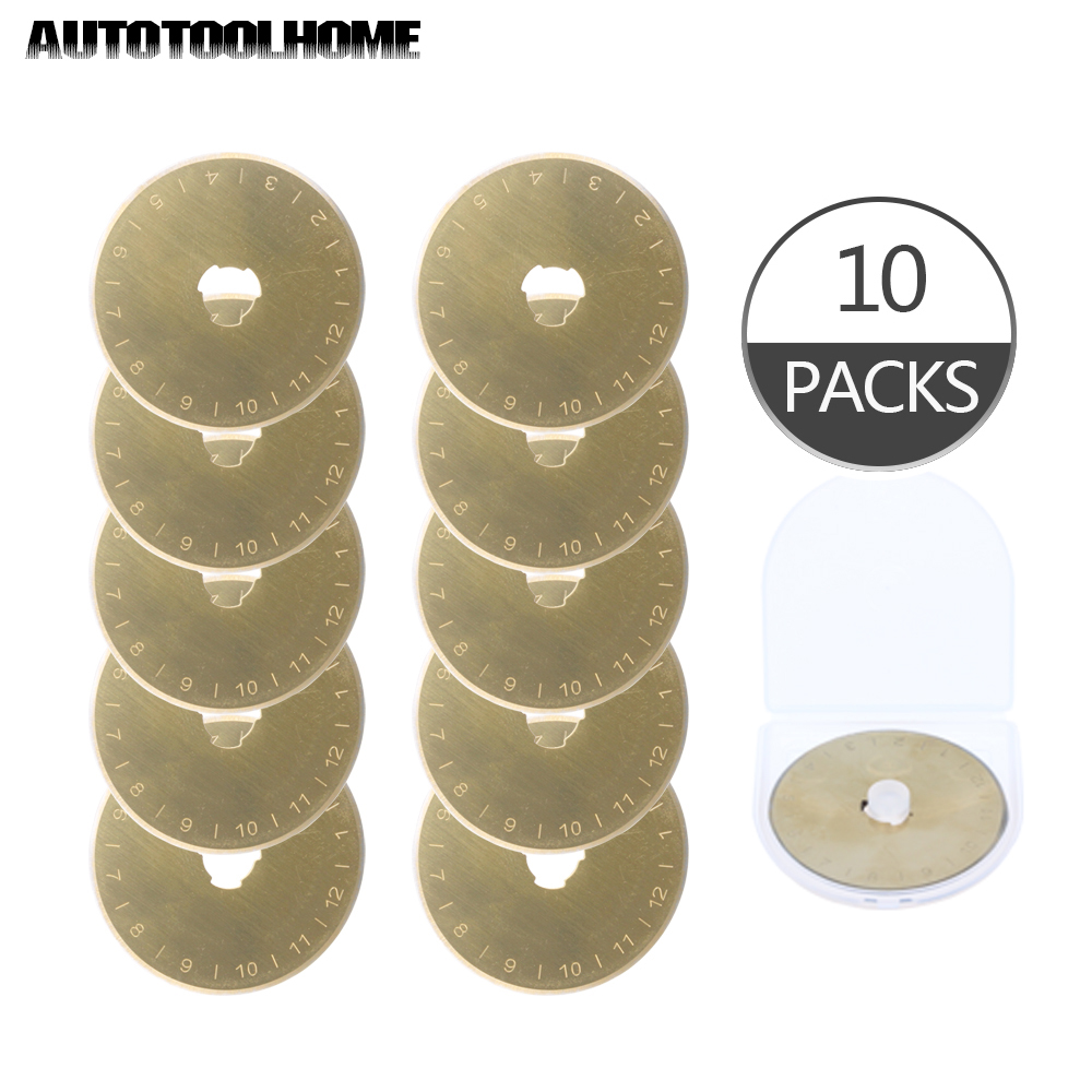 10Pcs Rotary Cutter Blades 45mm Fit For Olfa Fiskars Titanium Coated SKS-7 Steel With Plastic Case Sewing Accessories