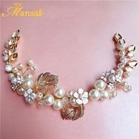 Wholesale New Simulated Pearls Leaf Headband Bridal Tiara Hairband Handmade Floral Forehead Baroque Pearl Wedding Hairwear SG124