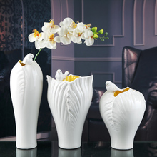 white ceramic creative Magpie birds flowers vase pot home decor crafts room wedding decorations handicraft porcelain figurines
