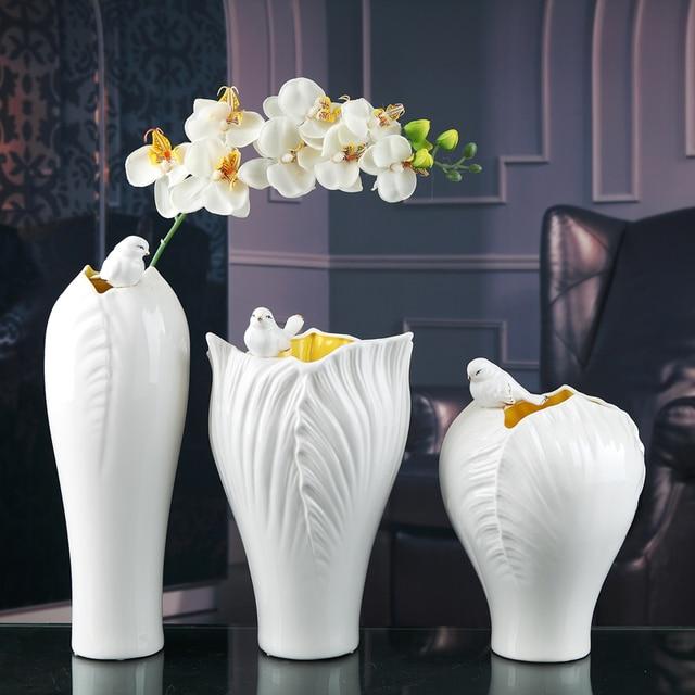 White Ceramic Creative Magpie Birds Flowers Vase Pot Home Decor Crafts Room Wedding Decorations Handicraft Porcelain