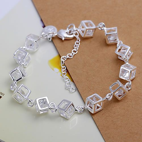 H241 925 ingyenes szállítás ezüst karkötő, 925 ingyenes szállítás ezüst divat ékszerek Fehér Gem karkötő / azzajrga awnajnua