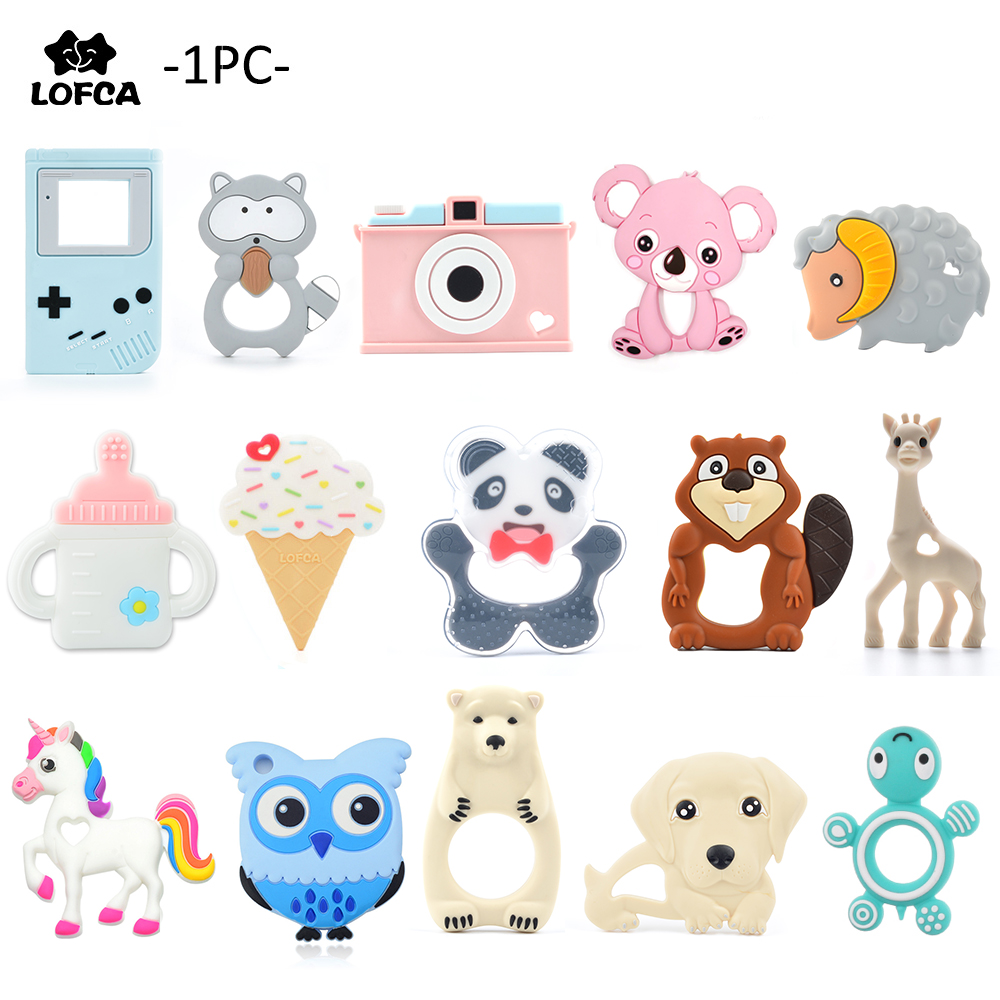 LOFCA Silicone Necklace-Accessories Pendant Chew-Toys Liquid-Ice-Cream Raccoon Infant