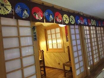 Tende Oscuranti In Lino   (Su Misura Accettare) Corea/Giappone/Cina Sushi Cucina Del Ristorante Appeso Combinare Tenda Di Lino-FAN (210*40 Cm)