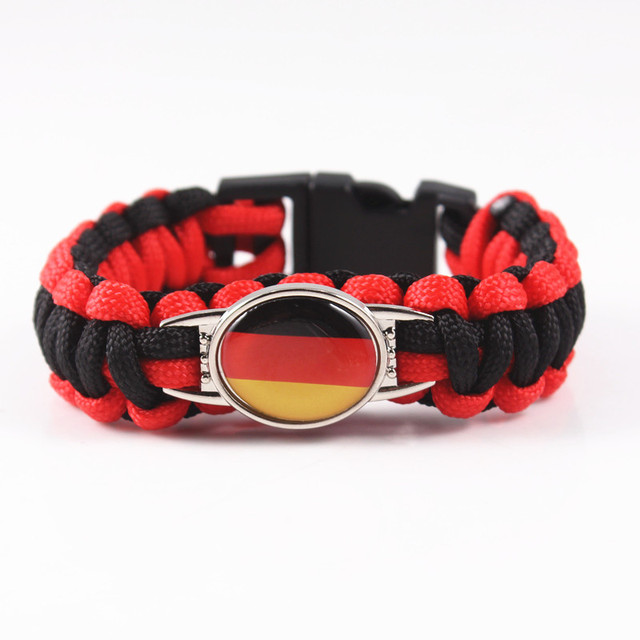 Custom Paracord Bracelet Germany Flag Charm Survival For Team Fans Jewelry