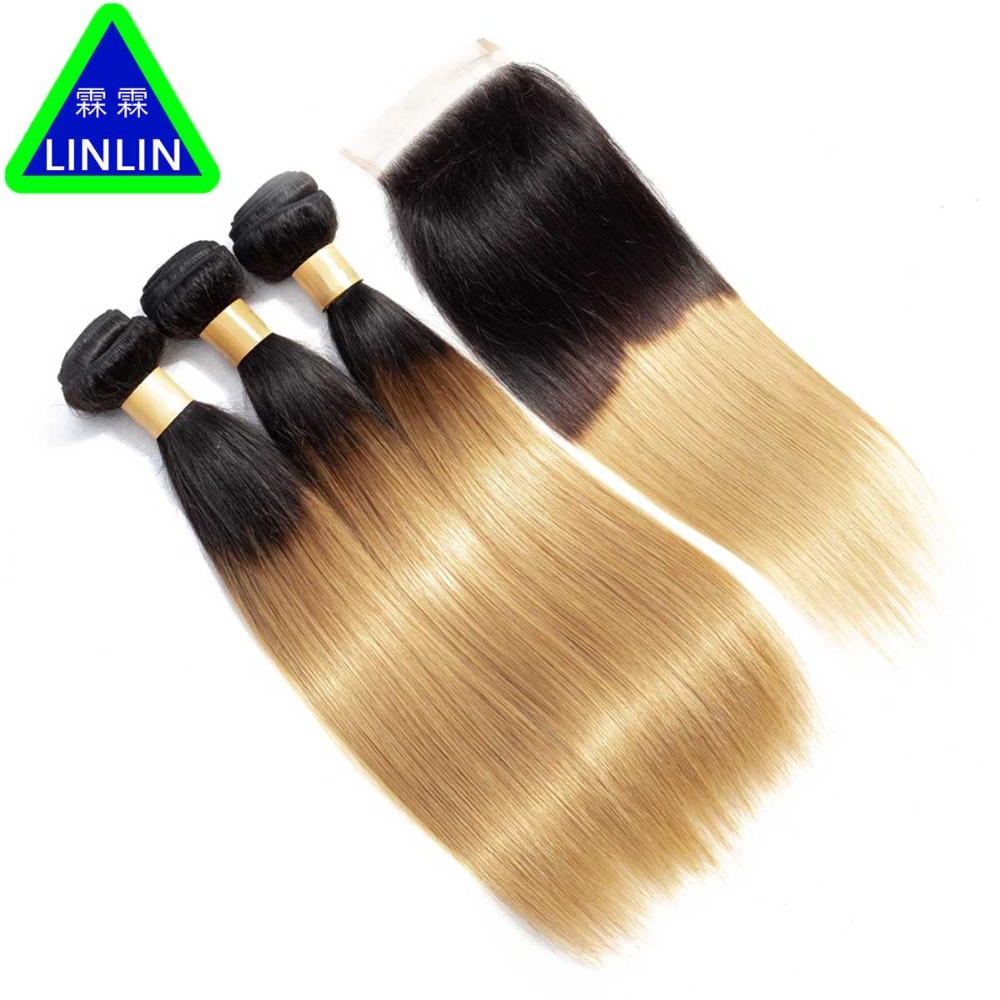 LINLIN Pre-Colored Ombre Peruvian Straight Hair 3 Bundles With 4x4 Closure #1b/27 Non-Remy Ombre Human Hair Weave Hair Rollers