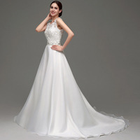 2018 Backlackgirl Elegant Hot Wedding Dress Sleeveless A line Floor length Scoop Neck Chiffon Lace And Beads Women Bridal Gowns