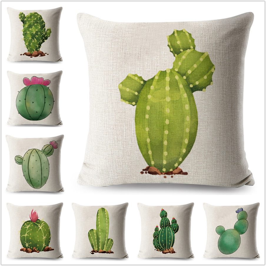 Watercolor Cactus PillowCase Plant Linen 45*45 cm Square Cushion Cover for Sofa Home Decorative Printed Throw Pillow case
