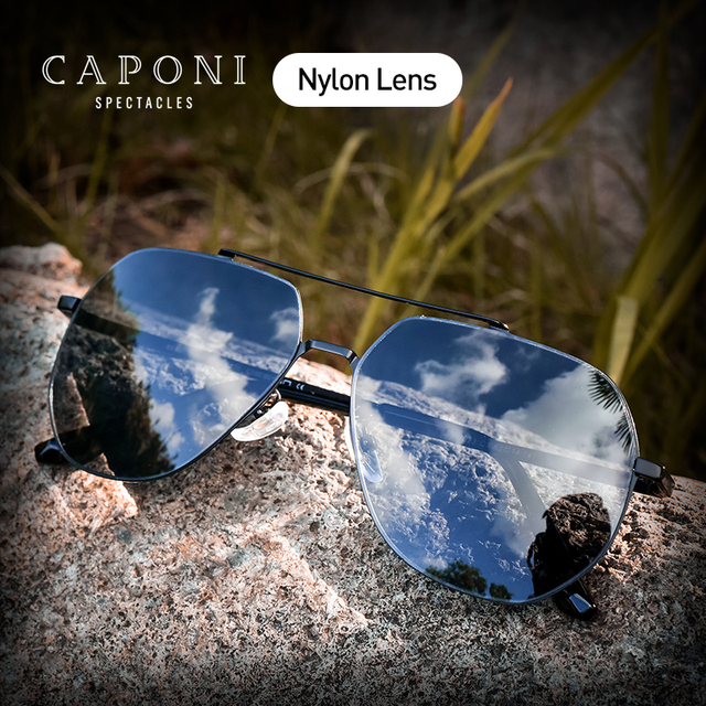 CAPONI Brand Designer Nylon UV400 Sunglasses for Men Eyewear Driving Sun Glasses Male Oculos Gafas 7023