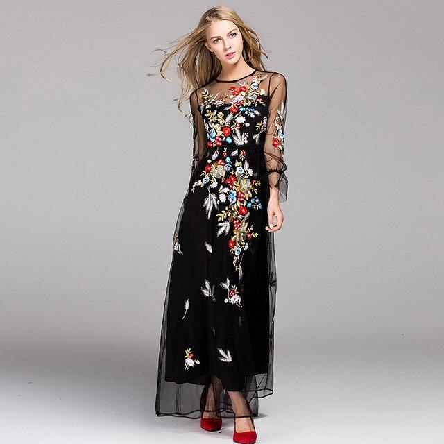 2017 nieuwste fashion runway maxi dress vrouwen elegante lange mouwen tule gaas bloem bloemen borduren zwart vintage lange dress