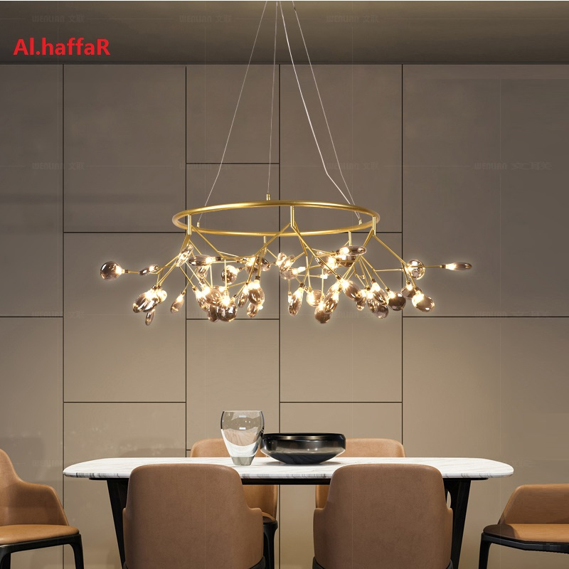 Lámpara de araña redonda moderna de luciérnaga LED con estilo lámpara colgante de rama de árbol araña circular decorativa colgante de Led - 3