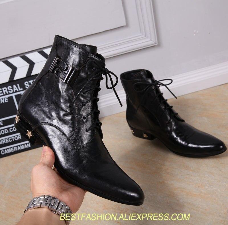 Новый подражать Geniune кожа Для мужчин туфли оксфорды с острым носком на шнуровке с высоким берцем Для мужчин сапоги Star со стразами на низком к