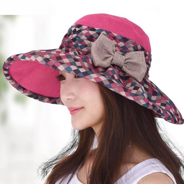 2016 Женский Шляпа Солнца Раза Настроить Пряжки Шляпу На Открытом Воздухе Летом Женщины Шапка Моды Солнцезащитный Крем Пляж Козырек