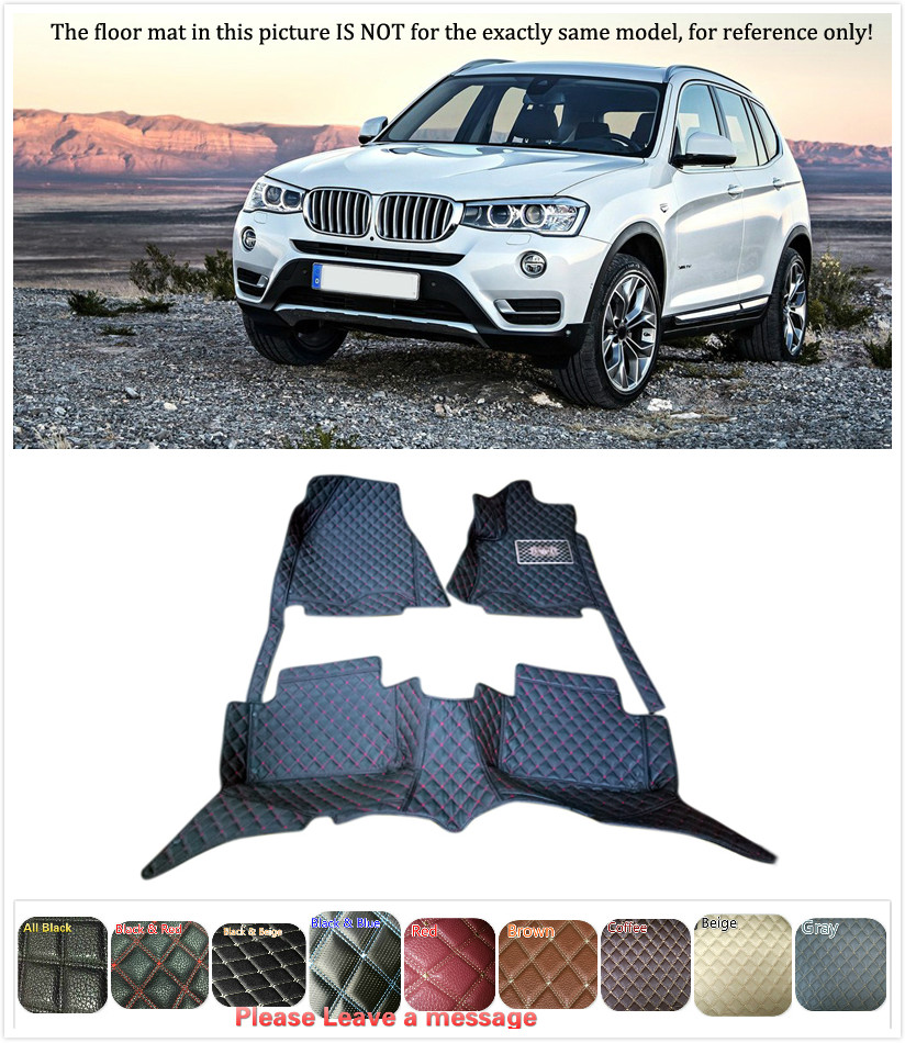 5 Seats 1 Set Customs Car Floor mat Leather Waterproof Front & Rear Floor Mats Carpets Pads for BMW X3 F25 2011 2012 2013 2014 auto floor mats for honda cr v crv 2007 2011 foot carpets step mat high quality brand new embroidery leather mats