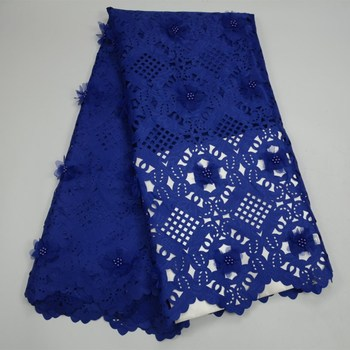 Lasercut design Laser Cut Lace Fabric with Beads and 3D Flower for Women Evening Dress