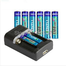 Free shipping KENTLI 8pcs AAA battery 1.5v 1100mWh AAA rechargeable li-ion polymer lithium battery+1pcs Intelligent Fast Charger