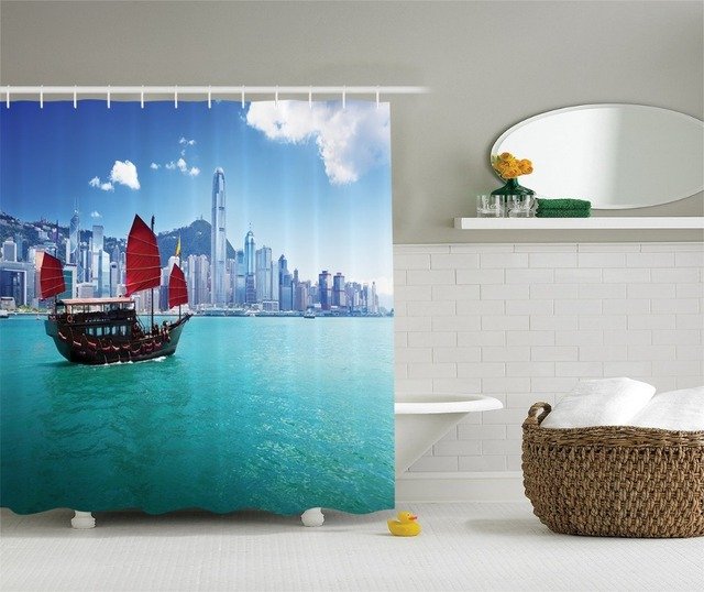 Shower Curtain Hong Kong Harbour Small Junk Boat With Flag Printing Waterproof Mildewproof Polyester Fabric Bath