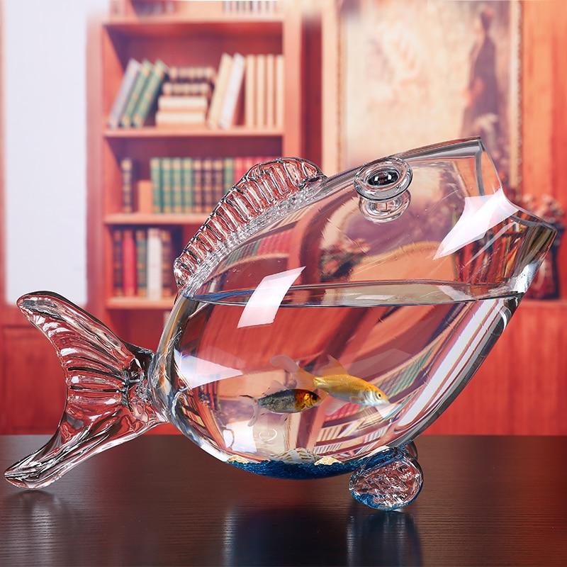 Bol en verre de poisson clair Transparent en verre en forme de poisson Aquarium réservoir de poisson en verre maison salon bureau artisanat ornements - 5