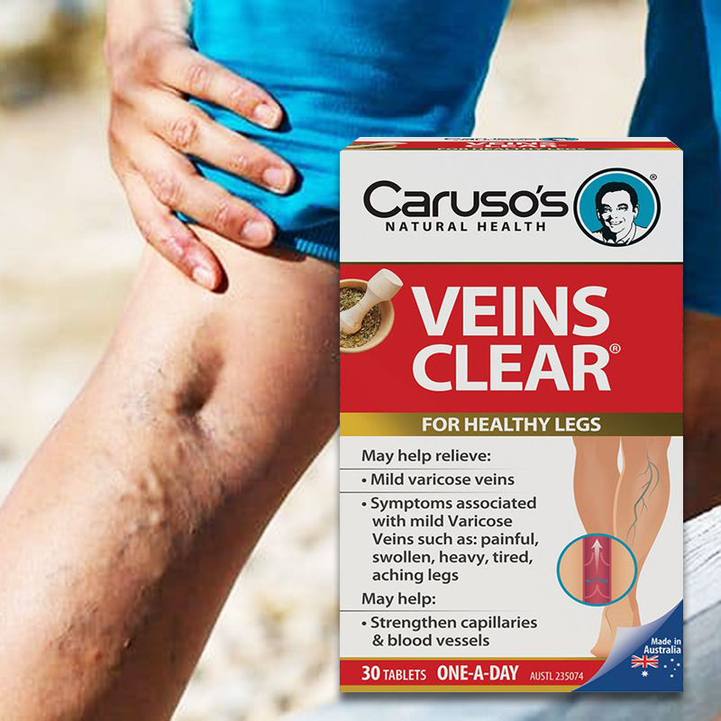Australia Carusos Natural Health Veins Clear 60Tabs for Varicose Spider Vein Great looking Healthy Legs Vein Strength Elasticity