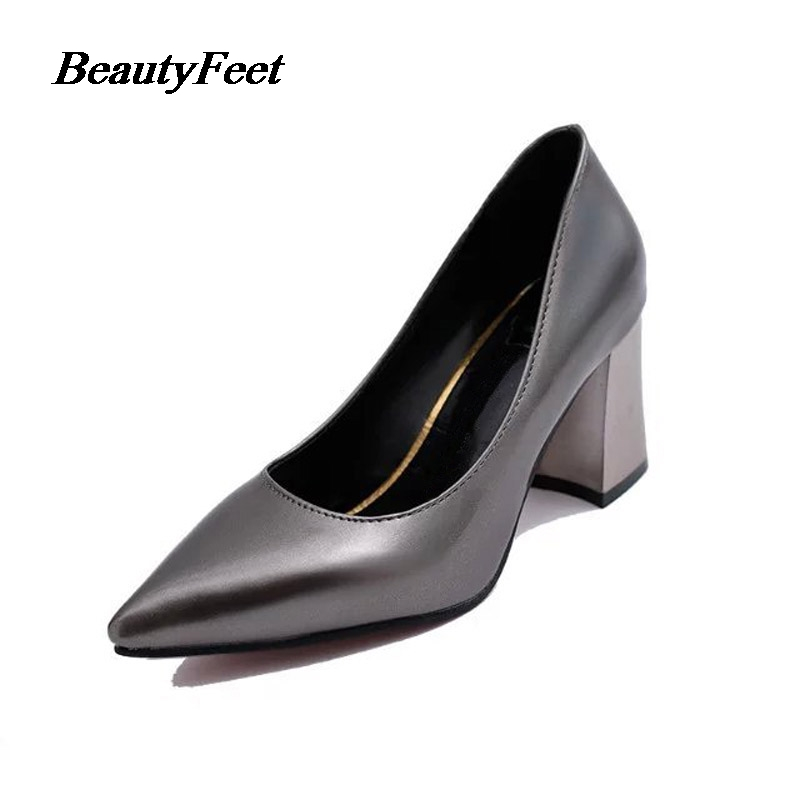 Aliexpress.com   Buy Zapatos 2017 Spring Korean Casual Shoes Female Square  High Heels Woman Shoes Pointed Toe Work Leisure Red Bride Wedding Shoes  from ... d11e24fbbf27