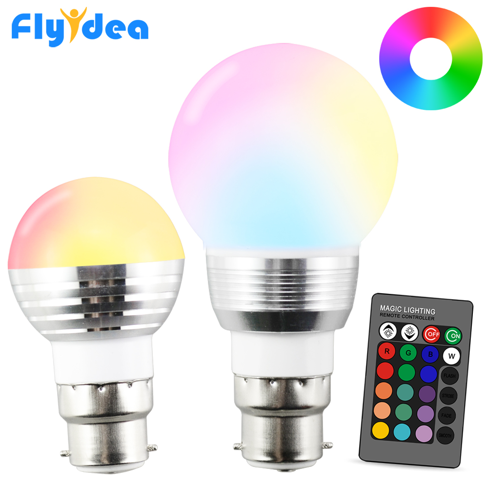 Holiday Dimmable Stage Light LED Night Light Lamp 24key IR Remote Control B22 16 Color Magic 110V 220V