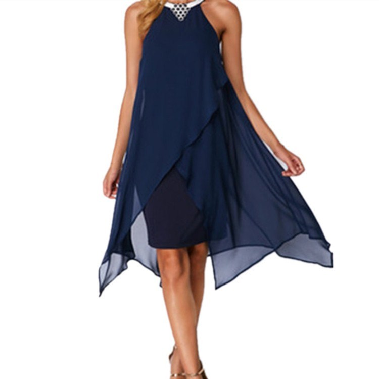 Plus Size Solid Color Mesh Patchwork Knee Length Dress Fashion Woman O Neck Sleeveless Asymmetrical Dress in Dresses from Women 39 s Clothing