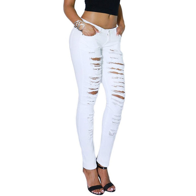 P02 Celebrity Style Women Ripped Destroyed Torn Skinny Leg Jeans Pencil Pants Denim Trousers Plus Size 2014 New Free Shipping