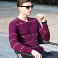 New Arrive Male Wool Sweater Men V-neck Turtleneck Sweaters Men Long Sleeve Stripe Wool Sweater