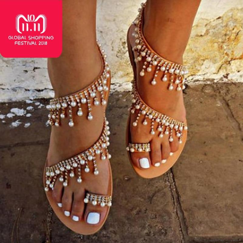 Frauen sandalen 2018 neue sommer schuhe flache perle sandalen komfortable string bead hausschuhe frauen casual sandalen größe 34-43