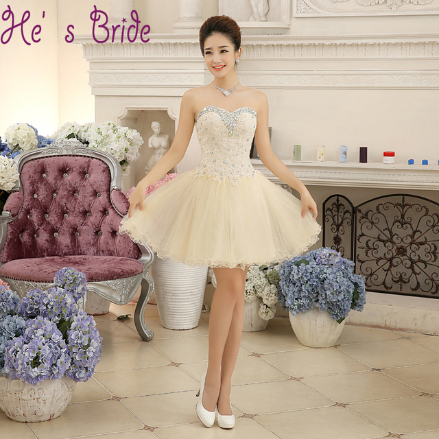 585e29a166 Champagne Lace with Crystal Cheap Prom Dresses Strapless Sleeveless Short  Vestido De Festa Elegant Slim Bride