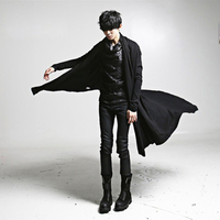 Gothic Long Trench Coat Men Rock Cool Punk Style Hip Hop Stage Cardigan Long Windbreaker Men Overcoat Steampunk Vintage Outwear