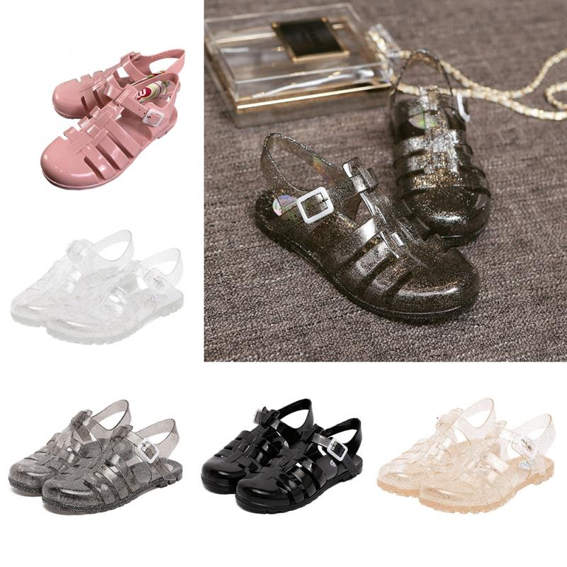 Summer Women Sandals Fashion Jelly Sandals Retro Crystal Plastic Non-Slip Hasp Flat Shoes Ladies Beach Jelly Flat Sandals 6