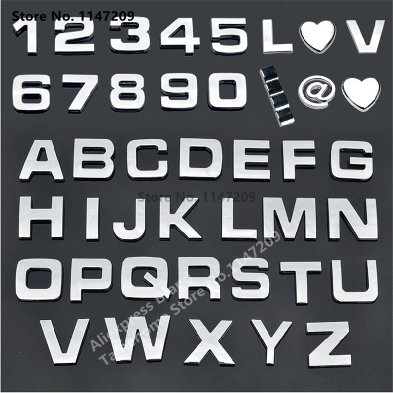 unids unidades diy sticker car styling chrome d letras de plata negro smbolo