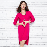Women Pullovers Cashmere Knitted Sweater 2016 New Winter Warm Long Skirts Hot Sale V neck Fashion Tops Standard Clothes