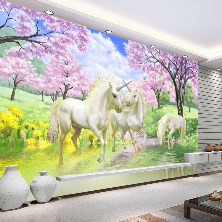 Buy 3d custom photo wallpaper unicorn for Customize wall mural