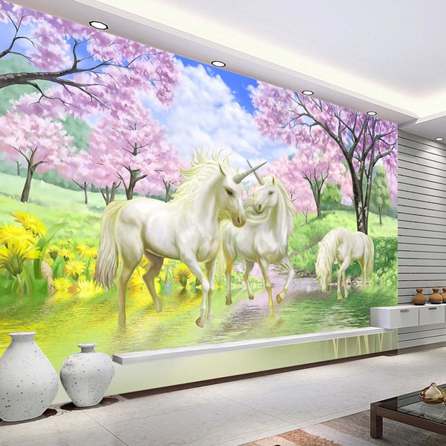 3D Custom Photo Wallpaper Unicorn Sakura Wallpaper Fantasy Wall Murals  Bedroom Childrenu0027s Room Art Room Decor Part 81
