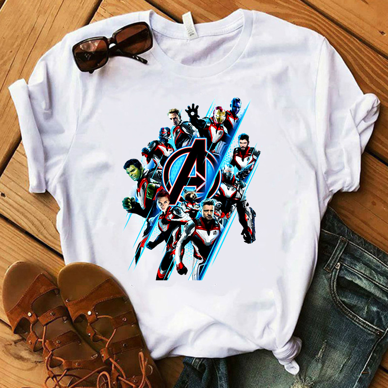 2019 New   T     Shirt   Women Marvel Movie Avengers Endgame Vogue Print   T  -  shirts   Short Sleeve Harajuku Style Tshirt Streewear Clothes