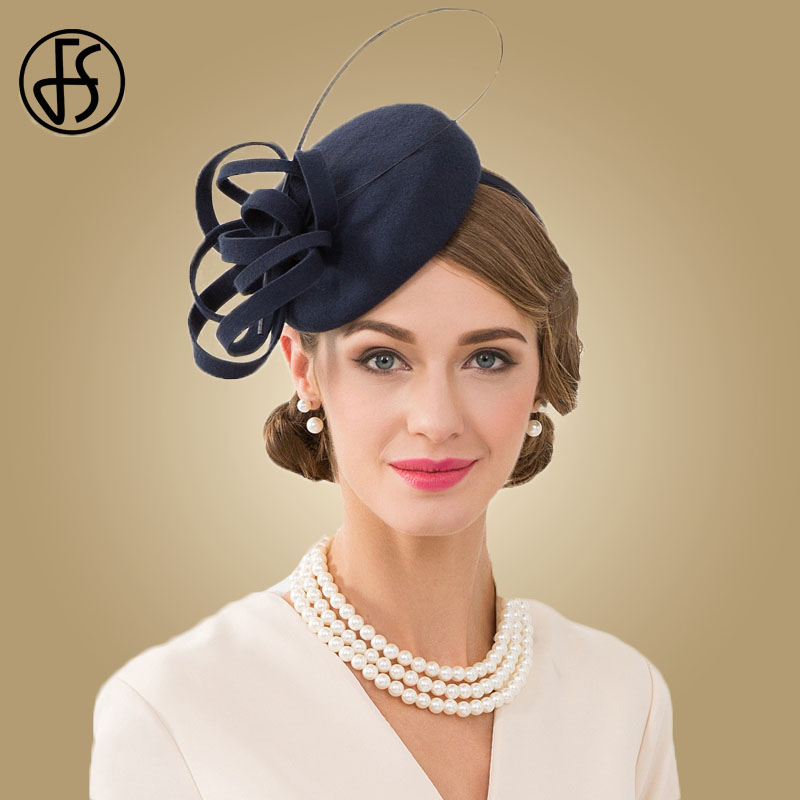 FS Royal Navy Blue Ladies Hat For Weddings Pillbox Fascinator Wool Women Fedoras Vintage Cocktail Tea