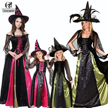 ROLECOS Brand New Women Halloween Costume Long Sleeve Green and Pink Sling  and Feather Witch Dresses d6828d9e942e