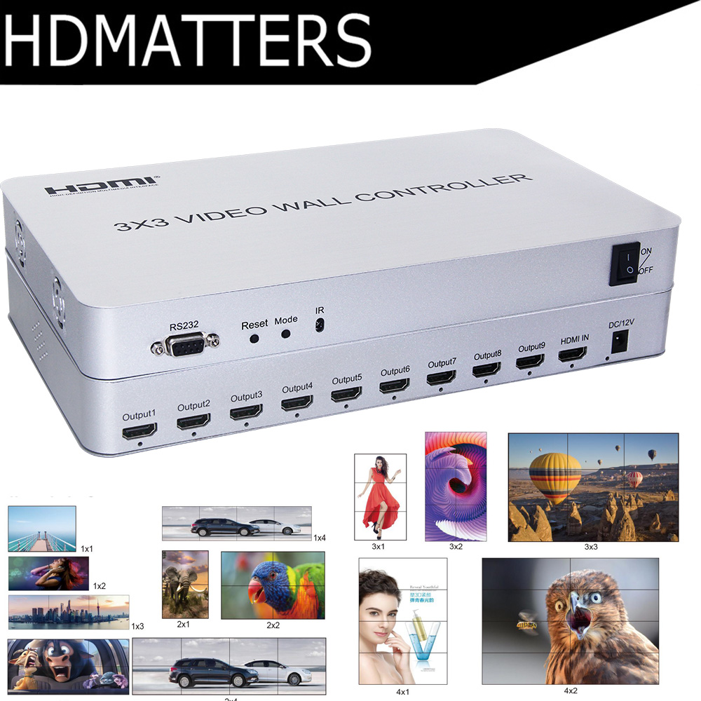 3x3 HDMI Video Wall Processor Matrix Controller Splicer Splitter Display 3x2 2x2 3x1 1x3 2x3 4x2 2x4 HDMI video controller(China)