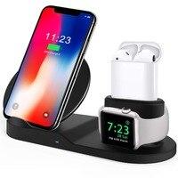 Para apple watch 4 3 2 1 banda 3 em 1 qi carregador sem fio de carregamento rápido para o iphone xs max xr x 8 plus samsung s9 s8 nota 9 airpods