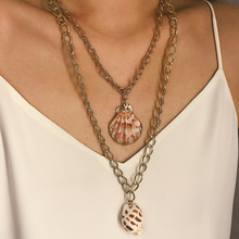 Individual Conch Necklace Jewelry Female Ethnic Wind Creative Beach Shell Double