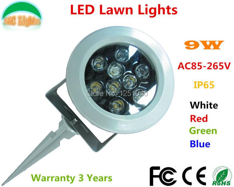 9W Single color LED Garden Spotlights Red Green Blue Yellow White LED Flood Light IP65 Outdoor LED Lawn Lights 110V 220V CE RoHS