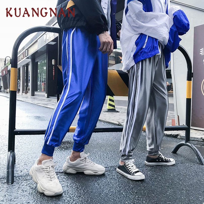KUANGNAN Men Trousers Harem-Pants Joggers Streetwear Blue Casual 5XL Ankle-Length