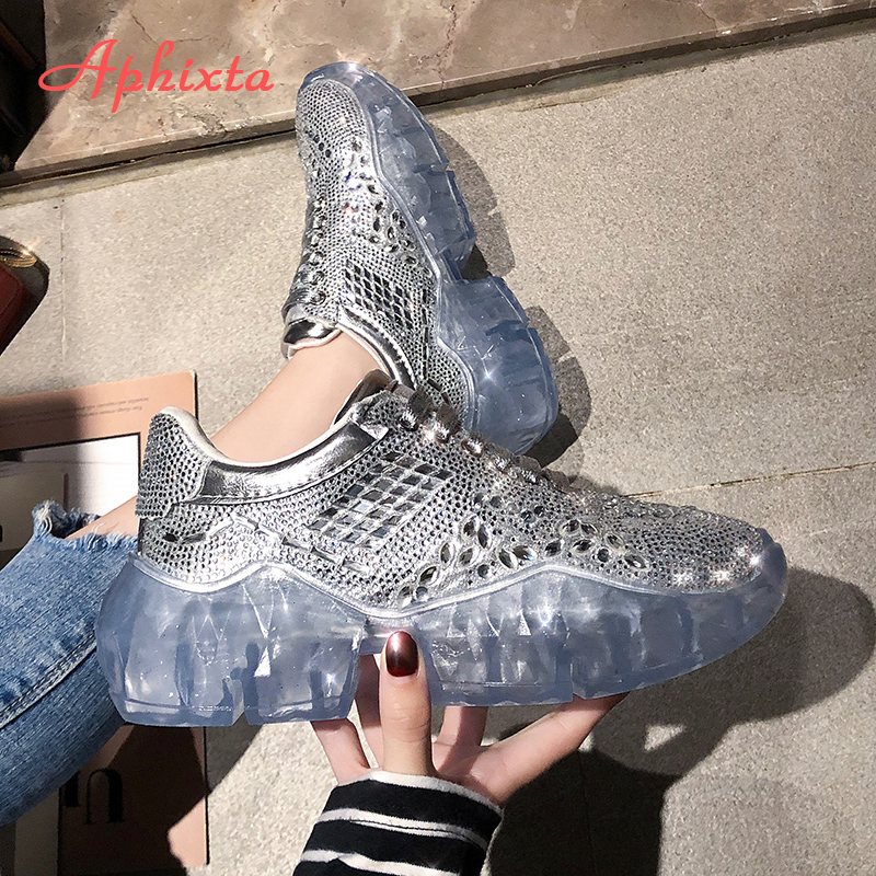 Aphixta Platform Transparent Crystal Shoes Woman Crystal Rhinestone Ankle Boots String Bead Silver Lace up Student Shoes
