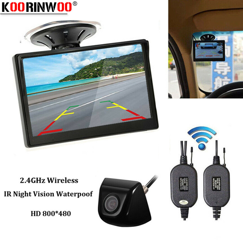 Koorinwoo Wireless Parking 5Inch HD Screen Suction Top Monitor Wide Angle LED Night Vision Metal Body Rear View Camera Universal