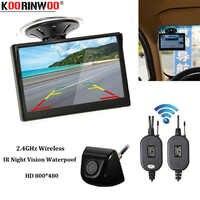 Koorinwoo aparcamiento inalámbrico 5 pulgadas HD pantalla de succión Monitor superior gran angular LED visión nocturna cuerpo metálico cámara de visión trasera Universal