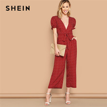 901d91763044 SHEIN Boho Sexy Burgundy Plunging Neck Frill Cuff Slant Pocket Wide Leg Jumpsuit  Women Puff Sleeve Mid Waist Belted Jumpsuits