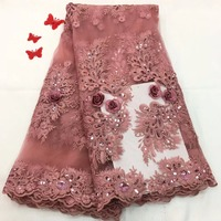 Madison Elegant African Lace Fabric Sequin High Quality Lace Pink Nigerian African Glittery Embroidery French Tulle Lace Fabric