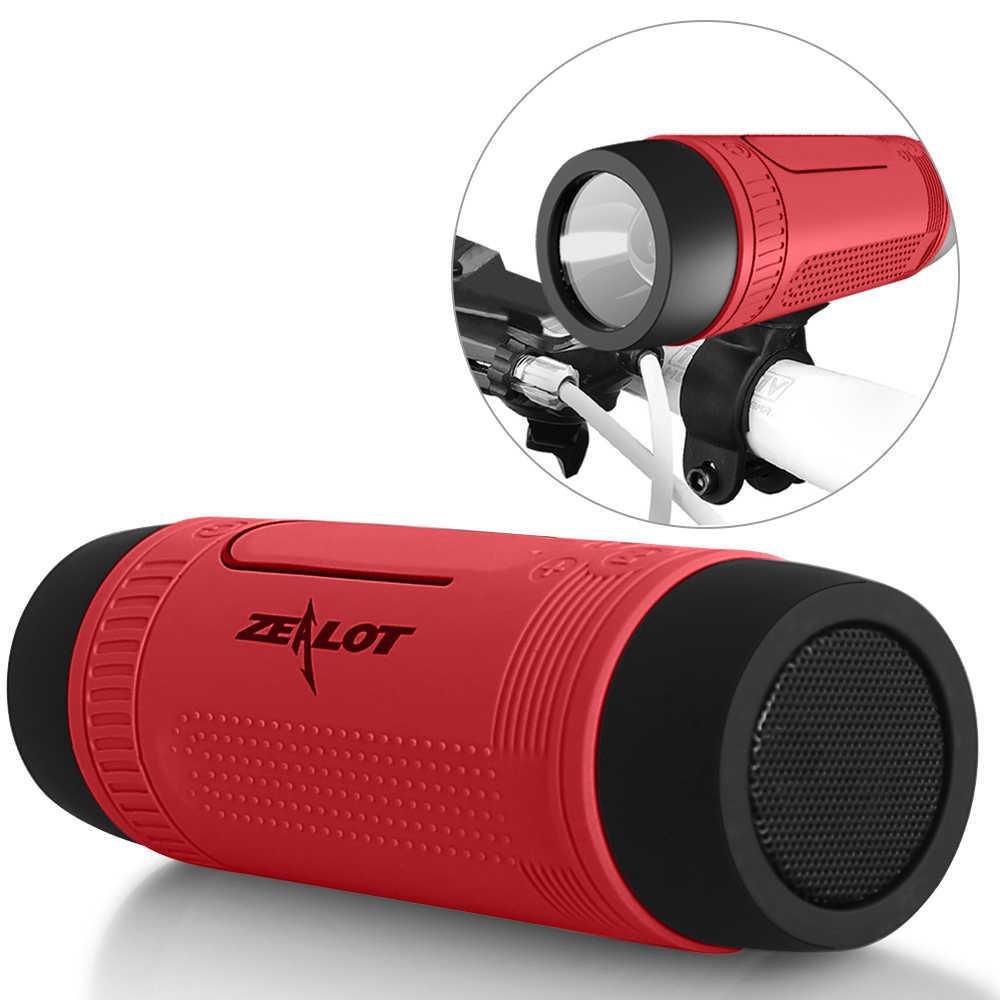 Zealot Bluetooth динамик портативная велосипедная Колонка fm-радио наружные небольшие беспроводные колонки power Bank + фонарик + крепление для велосипеда