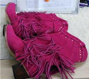 Image 5 - Femmes mi mollet talon bas bohême Style gladiateur moto bottes à franges Cowboy bottes chaussures printemps automne femmes gland bottes